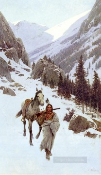 Indiana Cowboy Painting - Through The Pass Winter west Indian native Americans Henry Farny