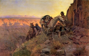 cowboy Painting - When Shadows Hint Death cowboy Charles Marion Russell Indiana