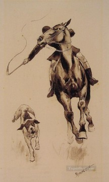 cattle bull cow Painting - Whipping in a Straggler Frederic Remington cowboy