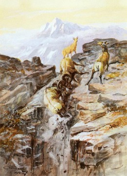 Artworks in 150 Subjects Painting - big horn sheep 1904 Charles Marion Russell Indiana cowboy