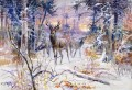 deer in a snowy forest 1906 Charles Marion Russell Indiana cowboy