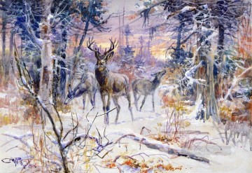 deer in a snowy forest 1906 Charles Marion Russell Indiana cowboy Oil Paintings