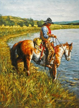 cattle bull cow Painting - on the hayfield bank cowboy