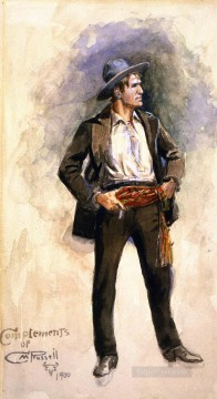 Artworks in 150 Subjects Painting - self portrait no 4 1900 Charles Marion Russell Indiana cowboy