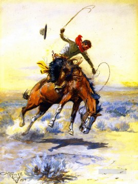 the bucker 1904 Charles Marion Russell Indiana cowboy Oil Paintings