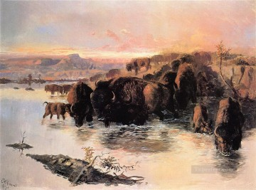 the buffalo herd 1895 Charles Marion Russell Indiana cowboy Oil Paintings