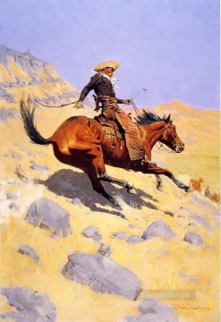cattle bull cow Painting - the cowboy 1902 Frederic Remington Indiana cowboy