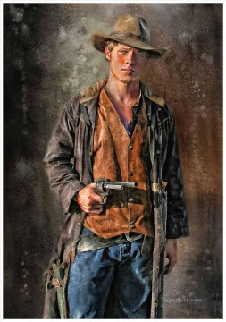 Indiana Cowboy Painting - young COWBOY with gun