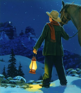 cattle bull cow Painting - young cowboy with LIGHT IN THE HILLS