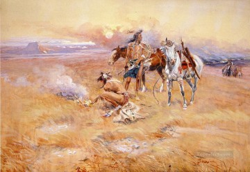 cattle bull cow Painting - Blackfeet Burning Crow Buffalo Range cowboy Charles Marion Russell Indiana
