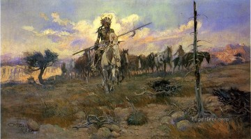 cattle bull cow Painting - Bringing Home the Spoils cowboy Charles Marion Russell Indiana