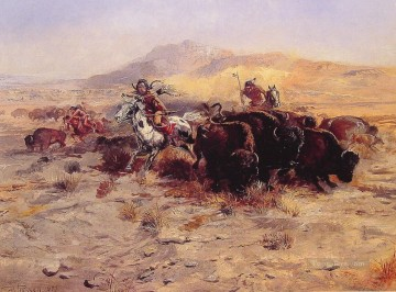 cattle bull cow Painting - Buffalo Hunt cowboy Charles Marion Russell Indiana