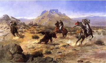 Indiana Cowboy Painting - Capturing the Grizzly cowboy Charles Marion Russell Indiana