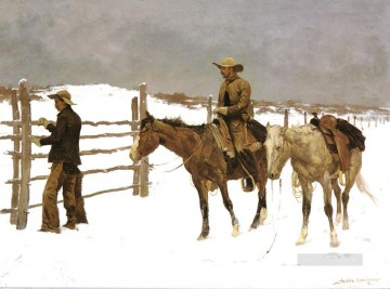 Indiana Cowboy Painting - Cowboy at barn in winter