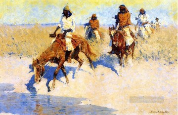 cattle bull cow Painting - Pool in the Desert Frederic Remington cowboy