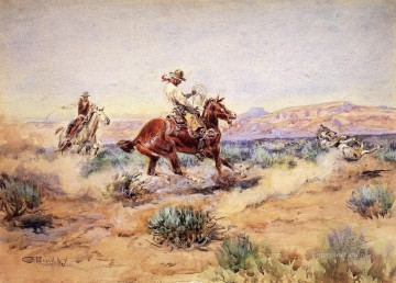 Roping a Wolf Indians Charles Marion Russell Indiana Oil Paintings