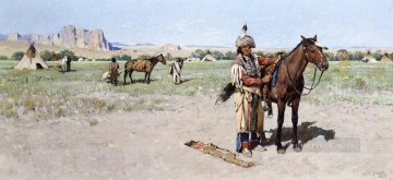 Indiana Cowboy Painting - Saddling Up west Indian native Americans Henry Farny