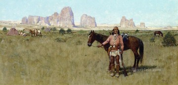 Indiana Cowboy Painting - Warrior and Teepees west Indian native Americans Henry Farny