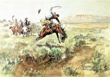 bronco busting 1895 Charles Marion Russell Indiana cowboy Oil Paintings