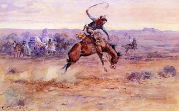 bucking bronco 1899 Charles Marion Russell Indiana cowboy Oil Paintings