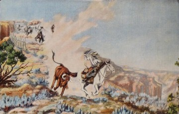 cattle bull cow Painting - cowboys hunting wisent