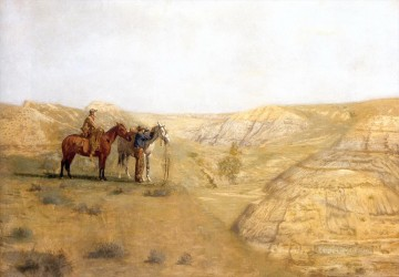 Indiana Cowboy Painting - cowboys in the bad lands 1888