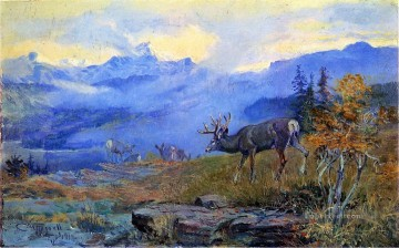 cowgirl cowboy Painting - deer grazing 1912 Charles Marion Russell Indiana cowboy