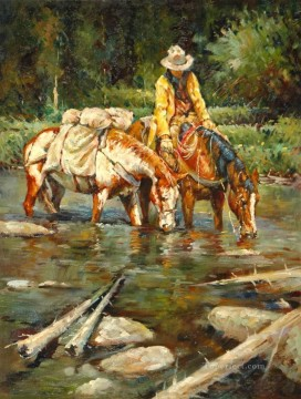 cattle bull cow Painting - drinking together western cowboy