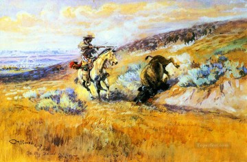 meat for wagons 1925 Charles Marion Russell Indiana cowboy Oil Paintings