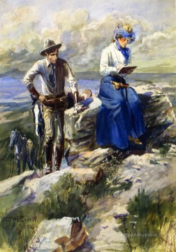 cowboy Painting - she turned her back on me and went imperturbably on with her sketching 1906 Charles Marion Russell Indiana cowboy
