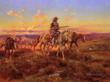the free trader 1925 Charles Marion Russell Indiana cowboy Oil Paintings