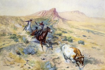 Artworks in 150 Subjects Painting - the herd quitter 1902 Charles Marion Russell Indiana cowboy