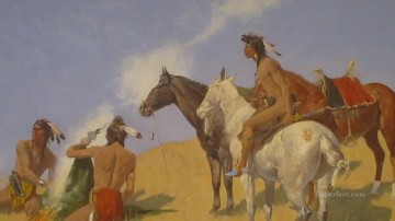 cowboy Painting - the smoke signal 1905 Frederic Remington Indiana cowboy