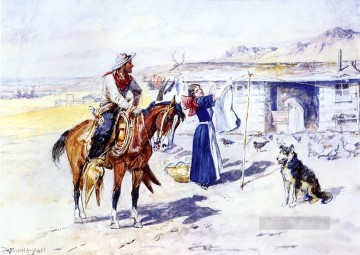 cowgirl cowboy Painting - thoroughman s home on the range 1897 Charles Marion Russell Indiana cowboy