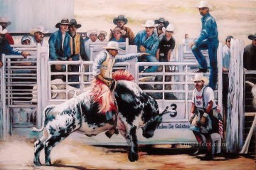 Indiana Cowboy Painting - Bull Rider viewing