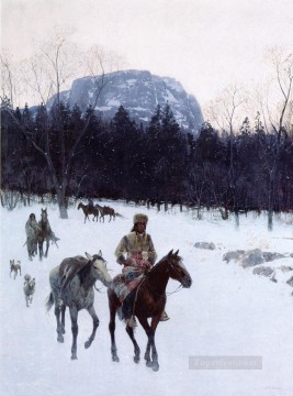 Indiana Cowboy Painting - Obsidian Mountain in The Yellowstone west Indian native Americans Henry Farny