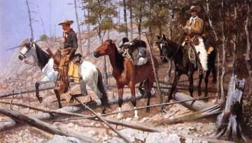cattle bull cow Painting - Prospecting for Cattle Range Frederic Remington cowboy