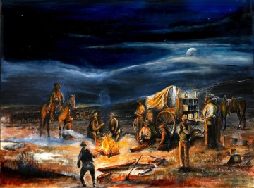 Indiana Cowboy Painting - The Chuck Wagon Night Moon Campfire by Rahming