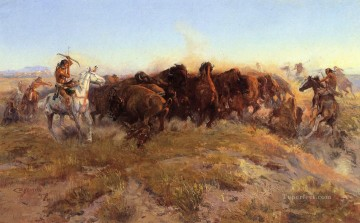 cattle bull cow Painting - The Surround cowboy Charles Marion Russell Indiana