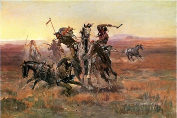 Indiana Cowboy Painting - When Blackfeet and Sioux Meet cowboy Charles Marion Russell Indiana