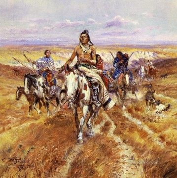 Indiana Cowboy Painting - When the Plains Were His Indians Charles Marion Russell Indiana