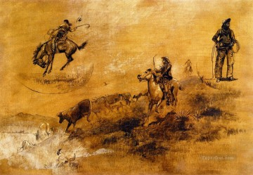bronco busting driving in 1889 Charles Marion Russell Indiana cowboy Oil Paintings
