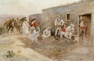 Artworks in 150 Subjects Painting - casa alegre 1899 Charles Marion Russell Indiana cowboy