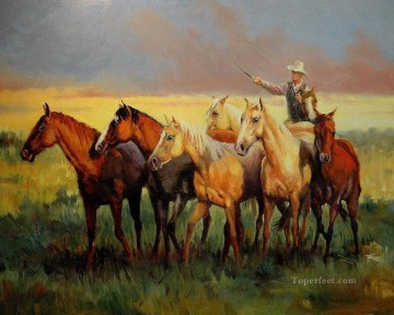 cattle bull cow Painting - cowboy and his horses