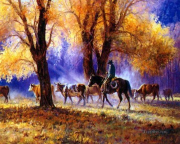 cattle bull cow Painting - cowboy walking in autumn woods
