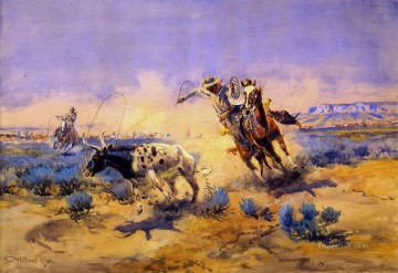 cattle bull cow Painting - cowboys from the quarter circle box 1925 Charles Marion Russell Indiana cowboy