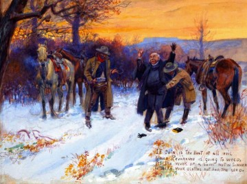fleecing the priest 1915 Charles Marion Russell Indiana cowboy Oil Paintings