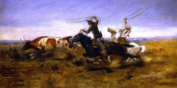 cattle bull cow Painting - oh cowboys roping a steer 1892 Charles Marion Russell Indiana cowboy