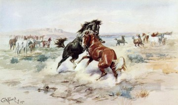 the challenge 2 1898 Charles Marion Russell Indiana cowboy Oil Paintings