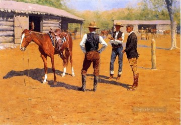 cattle bull cow Painting - Buying Polo Ponies in the West Frederic Remington cowboy